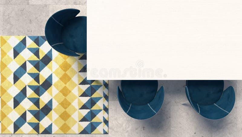 Dessus de table blanc vide avec le fauteuil bleu se tenant sur le plancher en béton avec le tapis modelé géométrique Vue supérieu illustration stock