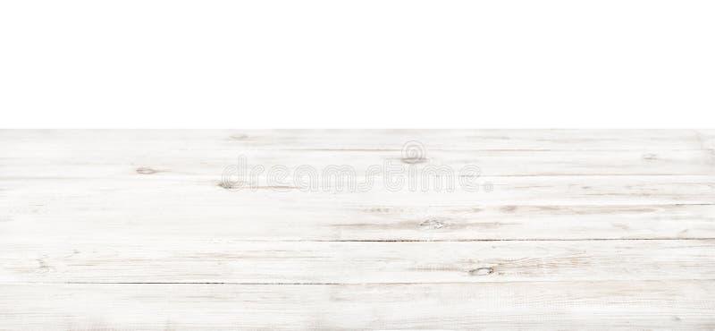Dessus de table en bois blanc rustique vide photos stock