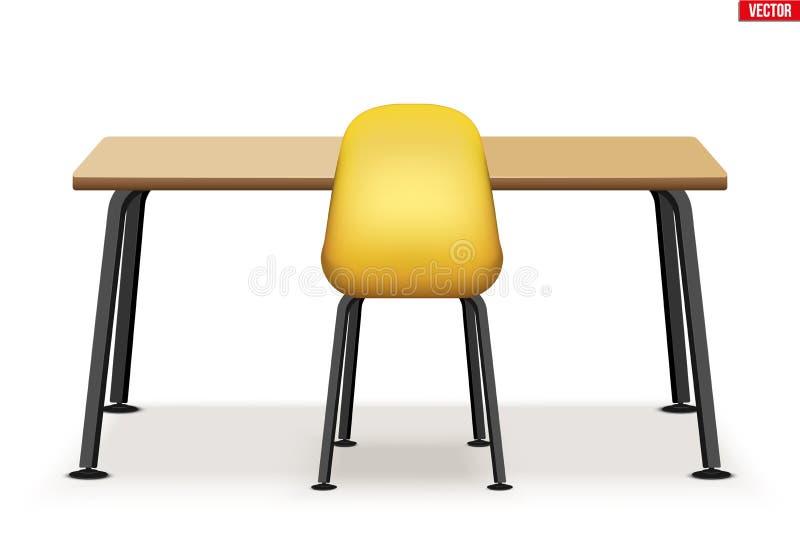 Dessus de table en bois d'espace de travail avec la chaise illustration de vecteur