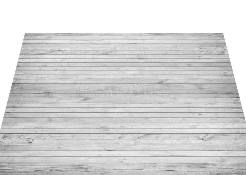 Dessus de table en bois gris vide, planches horizontales sur le fond blanc photo libre de droits