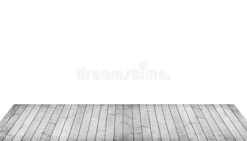 Dessus de table en bois gris vide, planches verticales sur le fond blanc photo libre de droits
