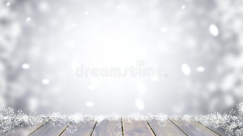 Dessus de table en bois sur Noël de tache floue images libres de droits