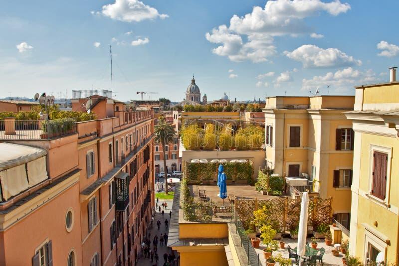 Dessus de toit à Rome près des opérations espagnoles photos stock