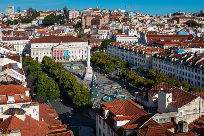 Dessus de toit de Baixa à Lisbonne images libres de droits