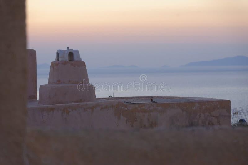 Dessus de toit de Santorini photographie stock