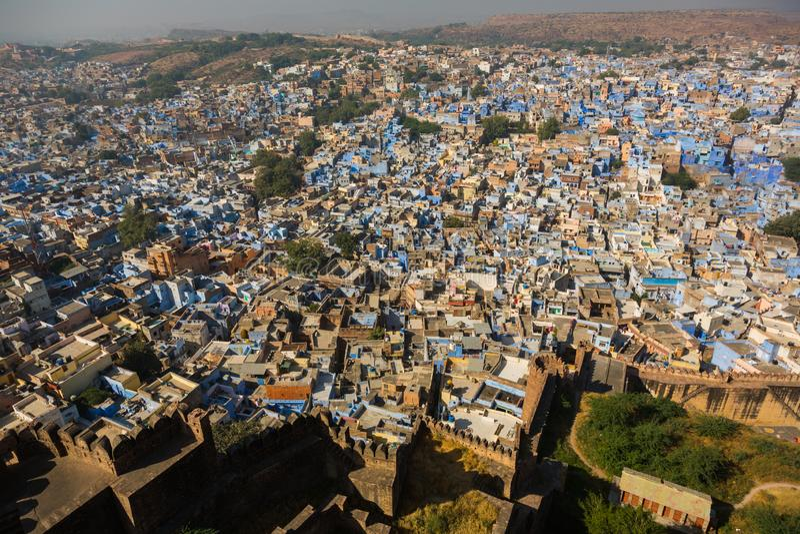 Dessus de toit de la ville bleue de Jodhpur photos libres de droits