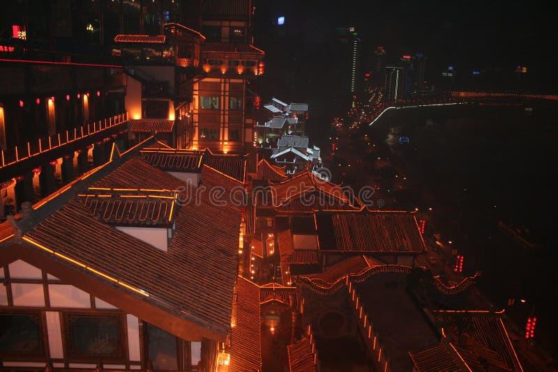 dessus de toit rouges de ville de Chongqing en Chine photos libres de droits