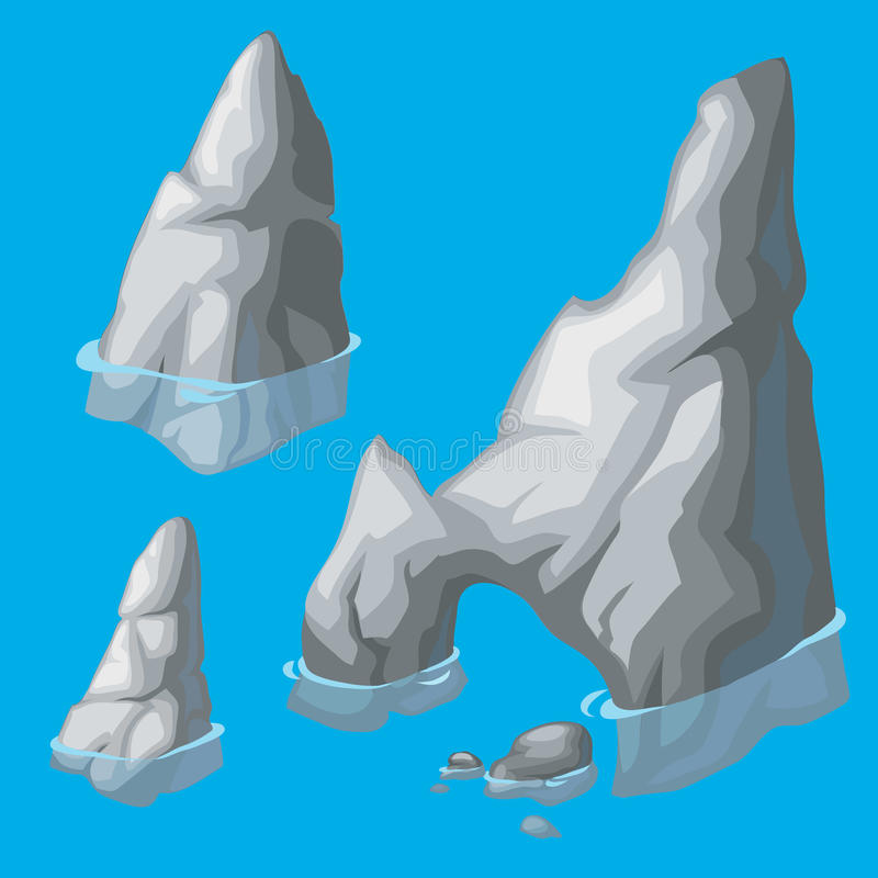 Dessus des roches dépassant de l'eau illustration stock
