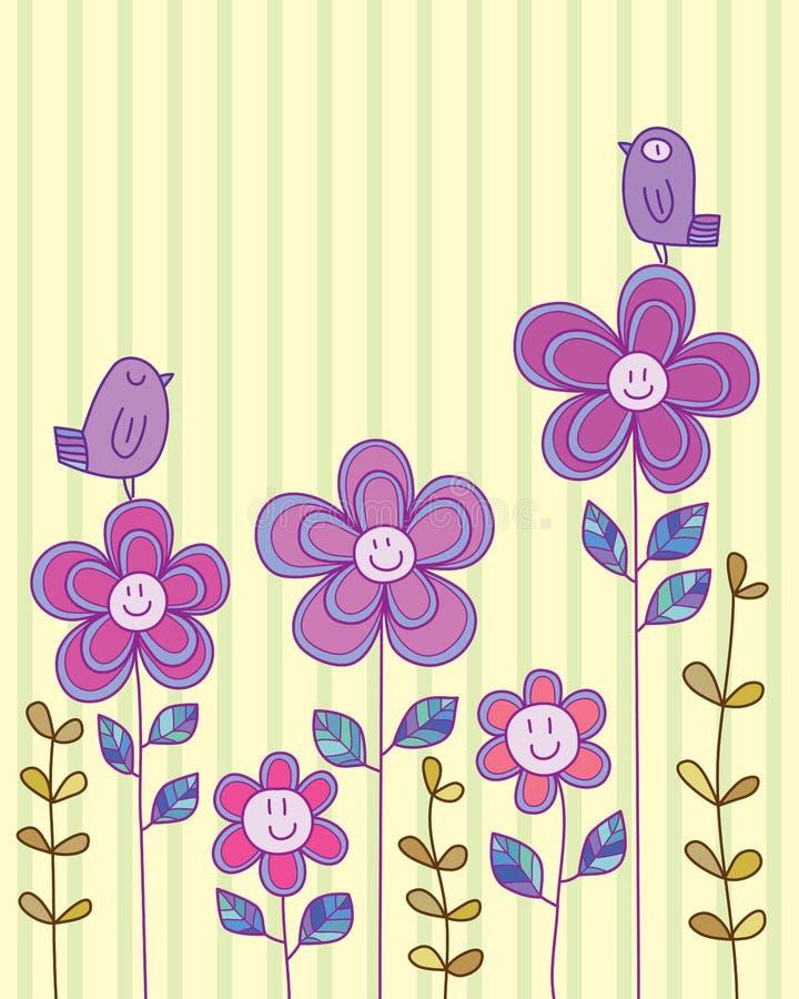 Dessus heureux de carte d'oiseau de fleur illustration de vecteur
