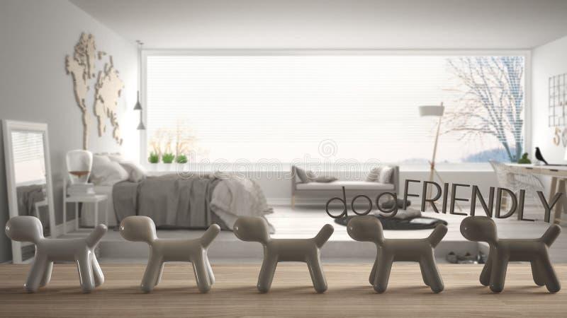 Dessus ou étagère de table en bois avec la ligne des chiens stylisés, concept amical de chien, amour pour des animaux, maison ani illustration de vecteur