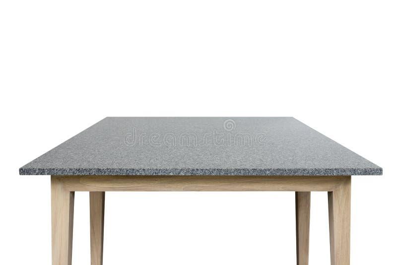 Dessus vide de la table de pierre de granit d'isolement sur le fond blanc photographie stock libre de droits