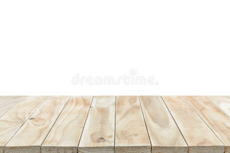 Dessus vide de la table ou du compteur en bois d'isolement sur le backgroun blanc images stock