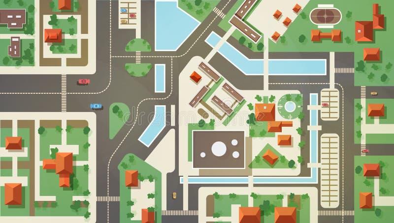 Dessus, vue d'oeil d'antenne ou d'oiseau s ou plan de ville moderne avec les bâtiments commerciaux et vivants, structures, routes illustration stock