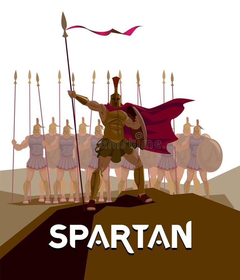 Destacamento dos legionários romanos Logo Spartan Defensor dos guerreiros ilustração stock