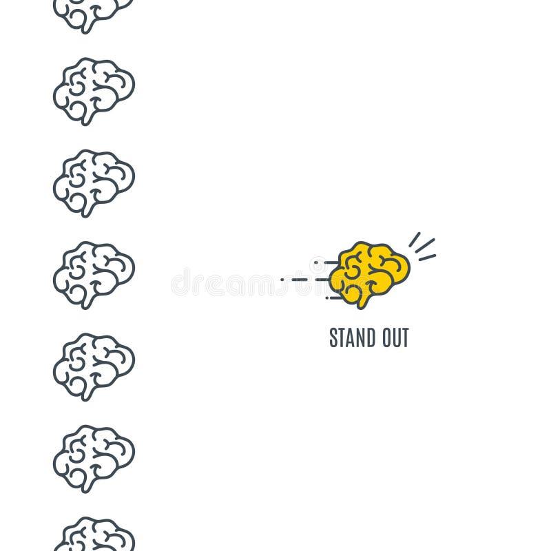 Destacarse concepto del cerebro stock de ilustración