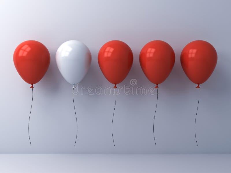 Destaqúese de la muchedumbre y del diverso concepto de la idea, un globo blanco entre otros globos del rojo en el fondo blanco de ilustración del vector