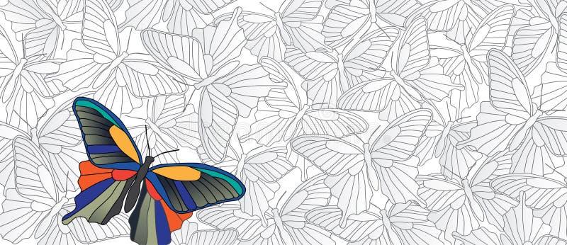 ¡Destaqúese! Vector la bandera con muchas mariposas ilustración del vector