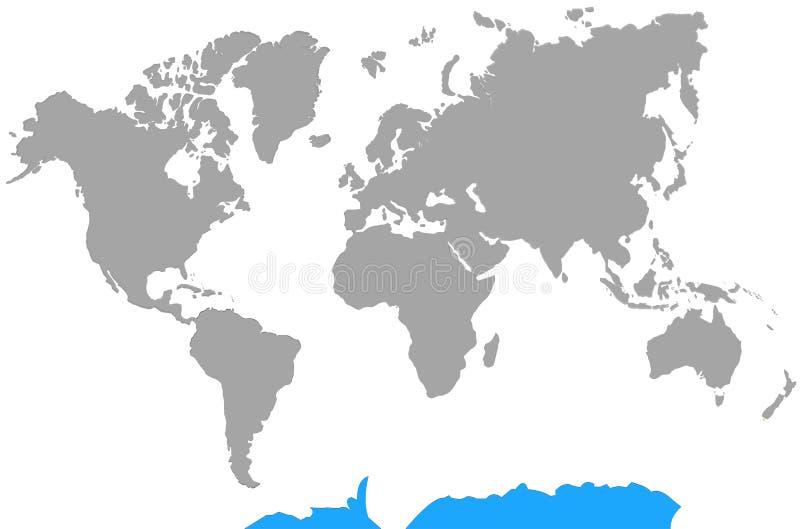 Destaque a Antártica do mapa do mundo dos continentes ilustração stock