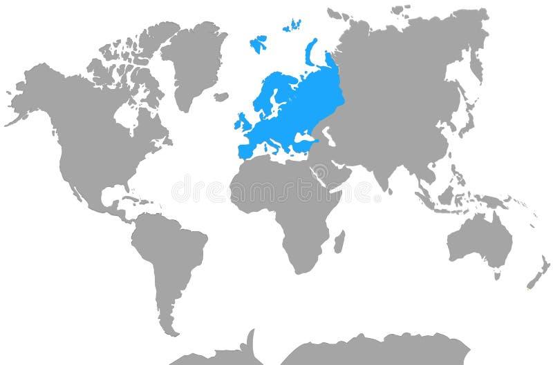 Destaque de Europa do mapa do mundo dos continentes ilustração stock