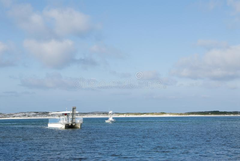 People Boating on the Choctawhatchee Bay in Destin Florida stock image