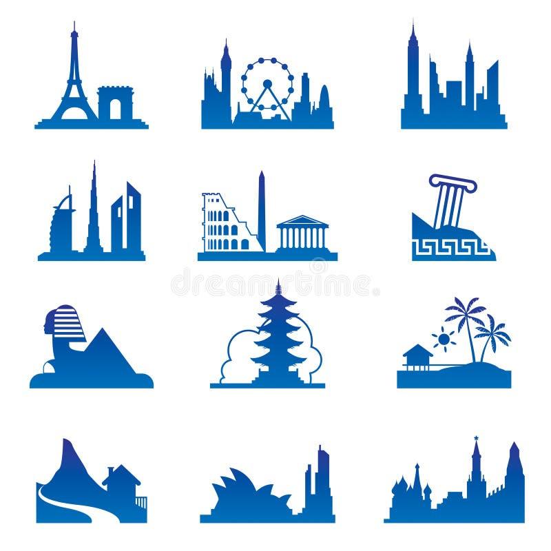Destinaciones del recorrido del mundo stock de ilustración