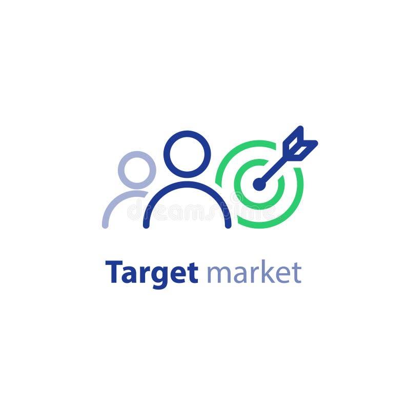 Destinatari, ricerca di mercato, pubbliche relazioni concetto, linea icona royalty illustrazione gratis