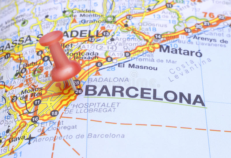 Destination Barcelona on the map of Spain