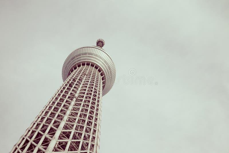 Destination célèbre de skytree de Tokyo de la vue inférieure photographie stock libre de droits