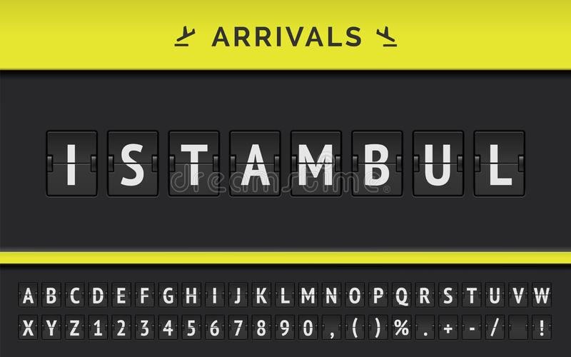 Destination d'arrivée de vol de vecteur en Asie Istambul par la police de conseil de secousse d'aéroport illustration stock