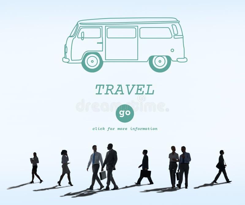 Destination de déplacement Van Concept de voyage d'aventure de voyage photographie stock libre de droits