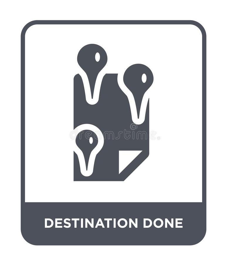 Destination done icon in trendy design style. destination done icon isolated on white background. destination done vector icon. Simple and modern flat symbol stock illustration