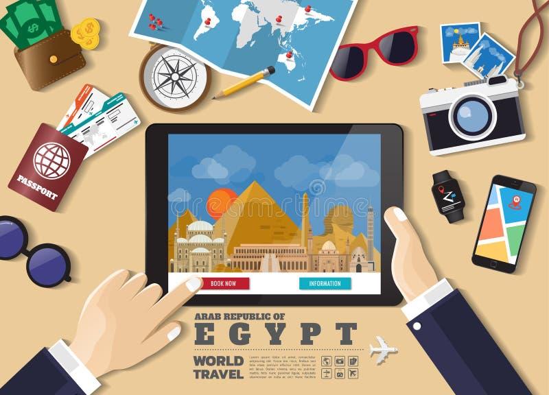 Destination f?r lopp f?r bokning f?r minnestavla f?r handinnehav smart Egypten berömda ställen Vektorbegreppsbaner i plan stil me vektor illustrationer