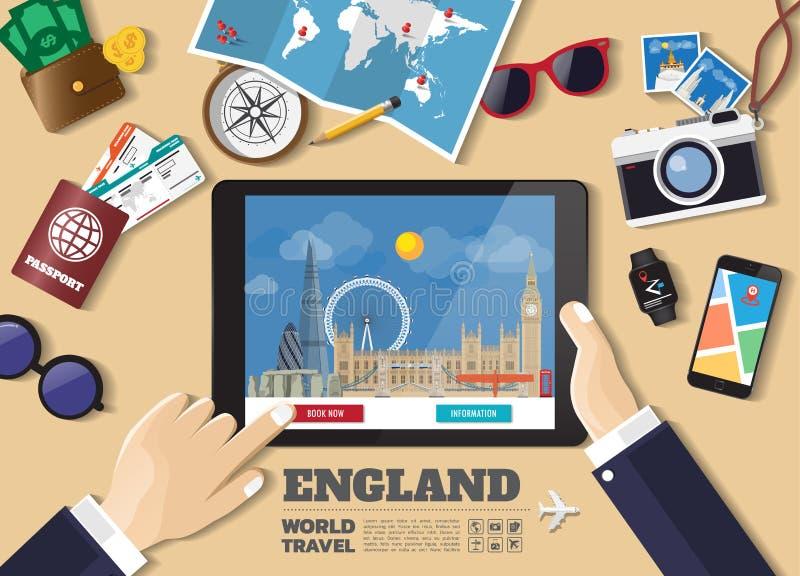 Destination f?r lopp f?r bokning f?r minnestavla f?r handinnehav smart England berömda ställen Vektorbegreppsbaner i plan stil me royaltyfri illustrationer