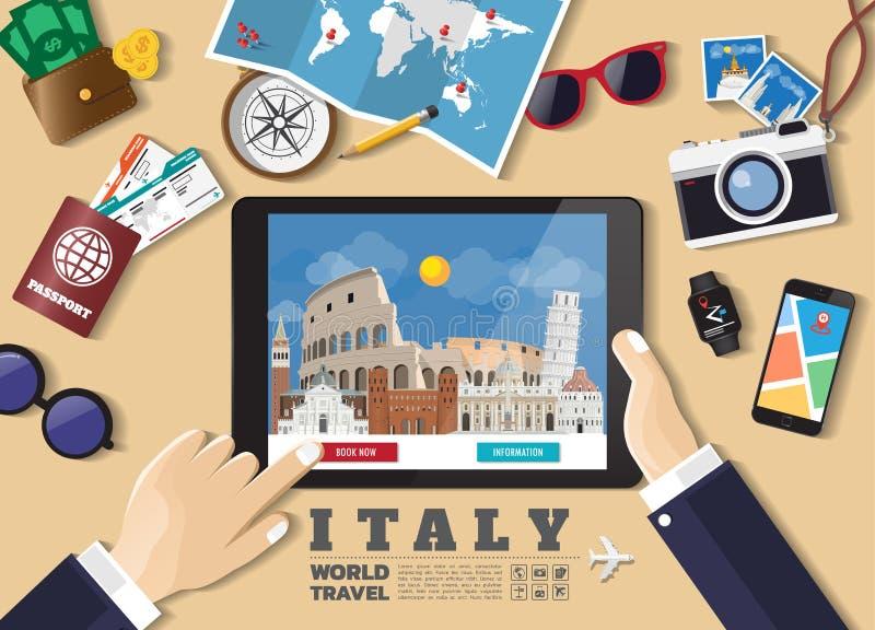 Destination f?r lopp f?r bokning f?r minnestavla f?r handinnehav smart Italien berömda ställen Vektorbegreppsbaner i plan stil me royaltyfri illustrationer
