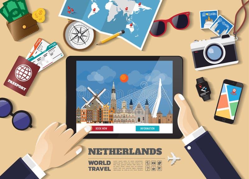 Destination f?r lopp f?r bokning f?r minnestavla f?r handinnehav smart Netherland berömda ställen Vektorbegreppsbaner i plan stil vektor illustrationer