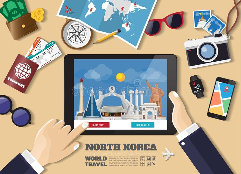 Destination f?r lopp f?r bokning f?r minnestavla f?r handinnehav smart Nordkorea berömda ställen Vektorbegreppsbaner i plan stil  stock illustrationer