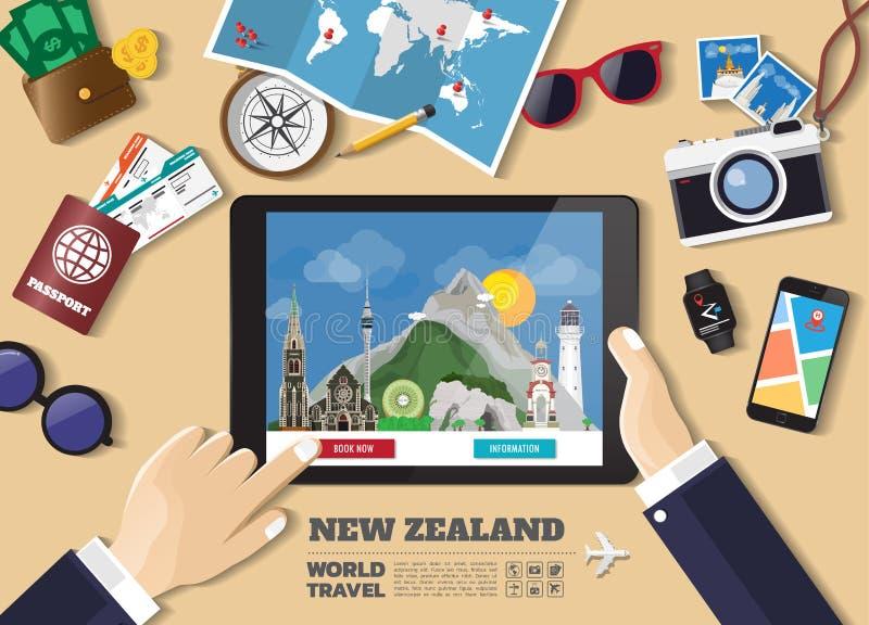 Destination f?r lopp f?r bokning f?r minnestavla f?r handinnehav smart Nya Zeeland berömda ställen Vektorbegreppsbaner i plan sti vektor illustrationer