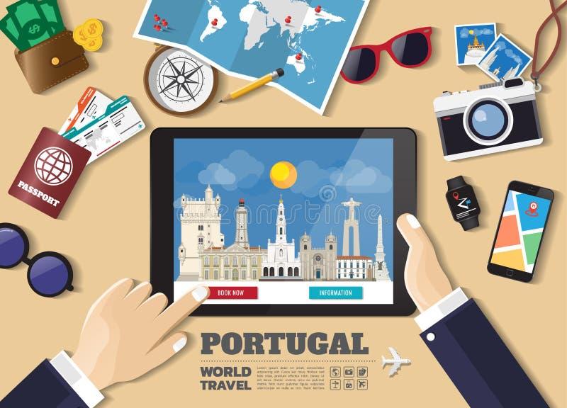 Destination f?r lopp f?r bokning f?r minnestavla f?r handinnehav smart Portugal ber?mda st?llen Vektorbegreppsbaner i plan stil m royaltyfri illustrationer