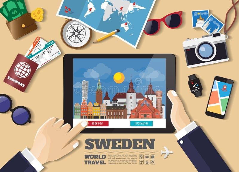 Destination f?r lopp f?r bokning f?r minnestavla f?r handinnehav smart Sverige berömda ställen Vektorbegreppsbaner i plan stil me royaltyfri illustrationer