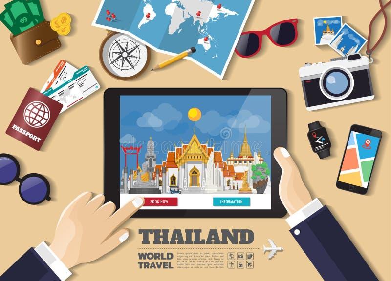 Destination f?r lopp f?r bokning f?r minnestavla f?r handinnehav smart Thailand berömda ställen Vektorbegreppsbaner i plan stil m vektor illustrationer