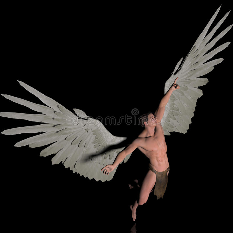 Destination. A male angel in a pose vector illustration