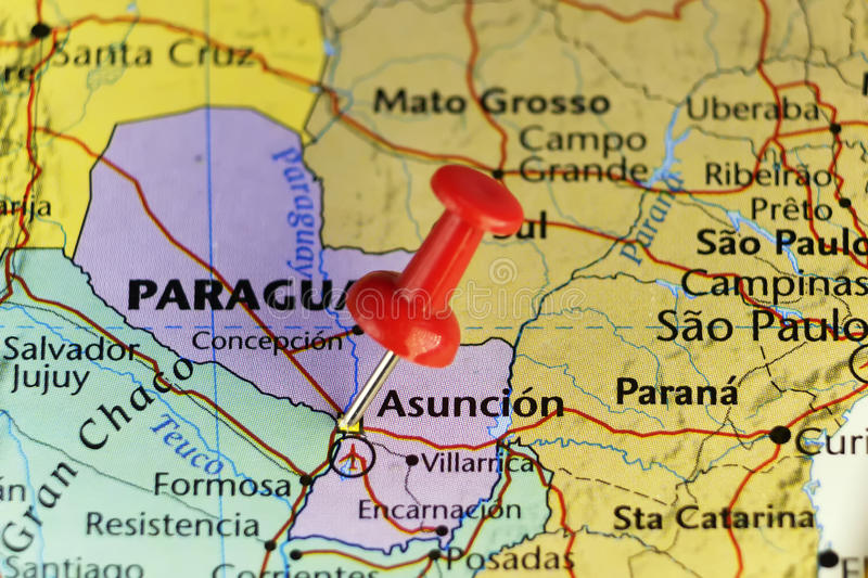 Destination Map Asuncion Paraguay Stock Illustration Illustration