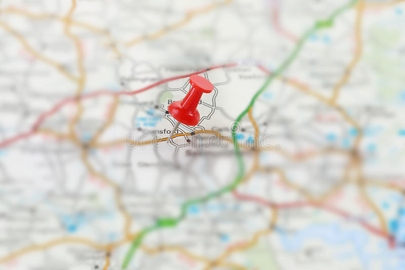 Destination. A destination marked on a road map with push pins. Map is copyright free royalty free stock photo