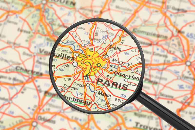 Destination - Paris (with magnifying glass)