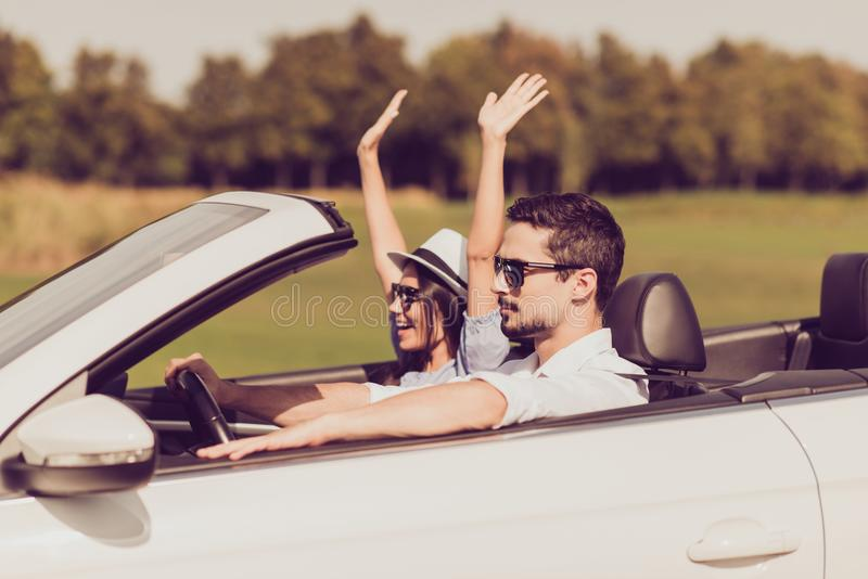 Destination relax, trip, park, auto vehicle rent, honeymoon relationship, friends, road escape, speed ride lifestyle. Beautiful l royalty free stock photo