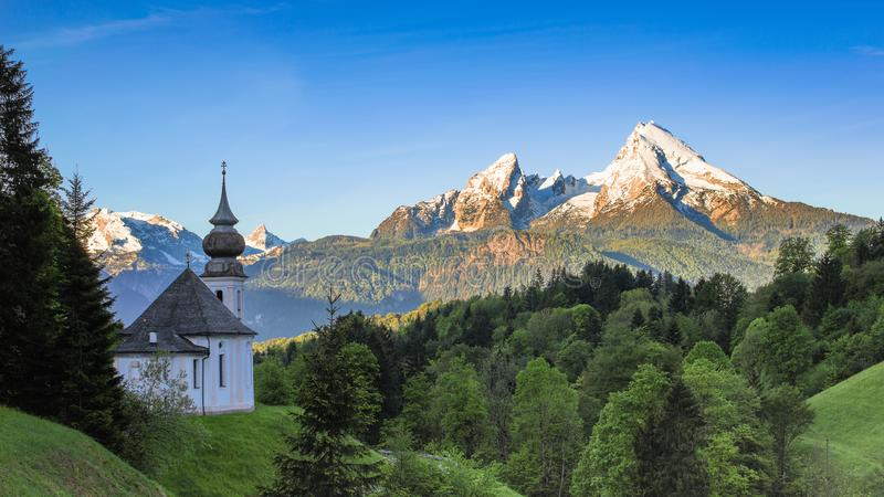 Destination scenery in Berchtesgaden with Maria Gern chapel and Watzmann mountain royalty free stock photo