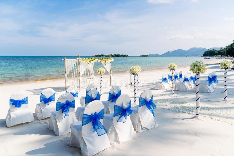 Destination Wedding Venue on the beach, Samui Island, Thailand. The Destination Wedding Venue on the beach with the white and blue theme, the 360 degree stock photography