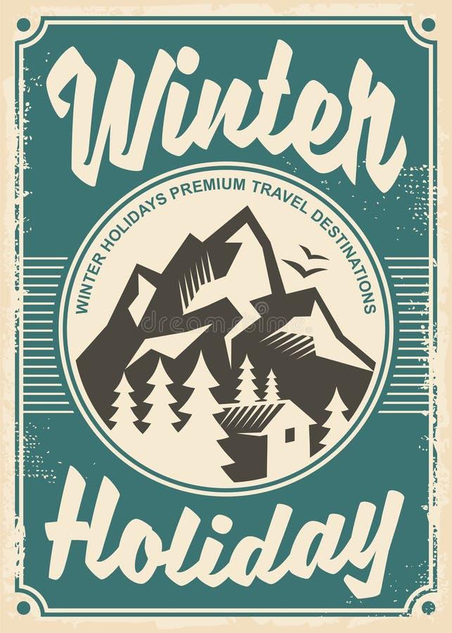 Destinations de voyage de vacances d'hiver, rétro conception d'affiche illustration stock