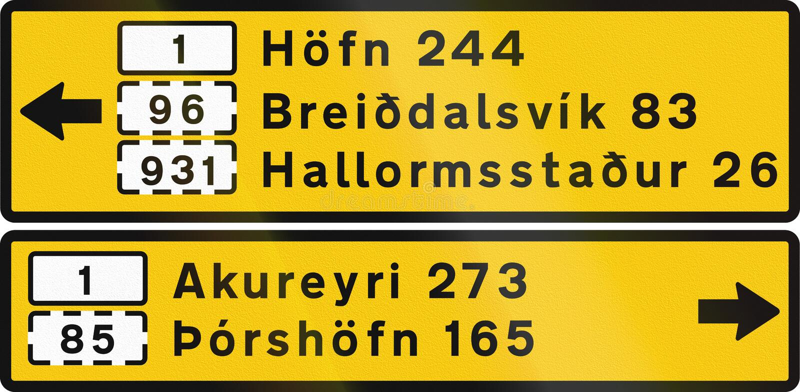 Destinations en dehors de région de la capitale en Islande illustration stock