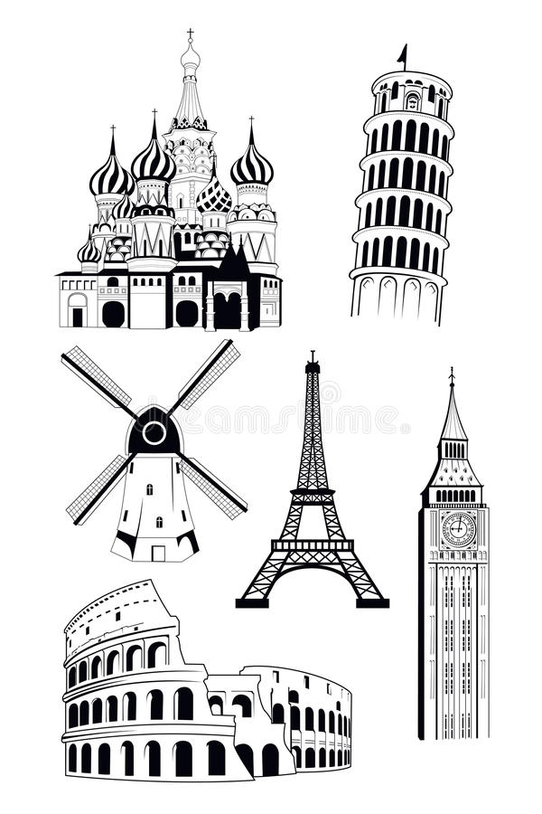 Destinations européennes de voyage dans le style d'encre illustration stock